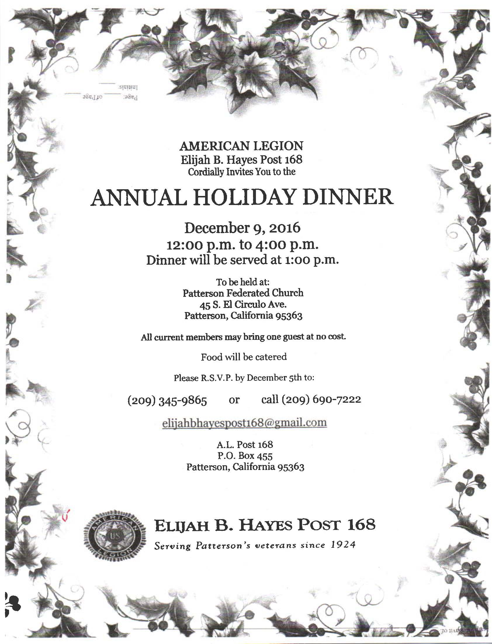 American Legion Annual Holiday Dinner