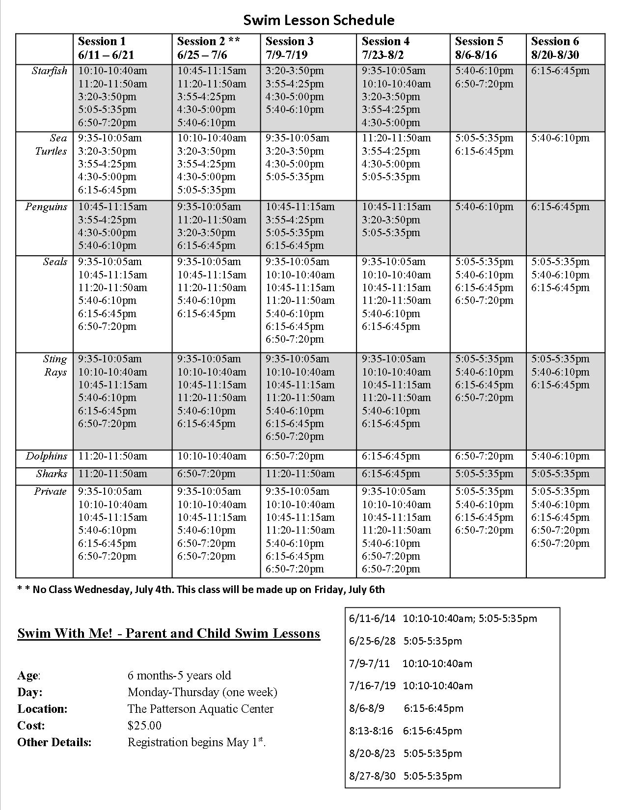 2018 Summer Swim Schedule