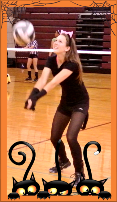 Girl Playing Volleyball in Costume on Halloween