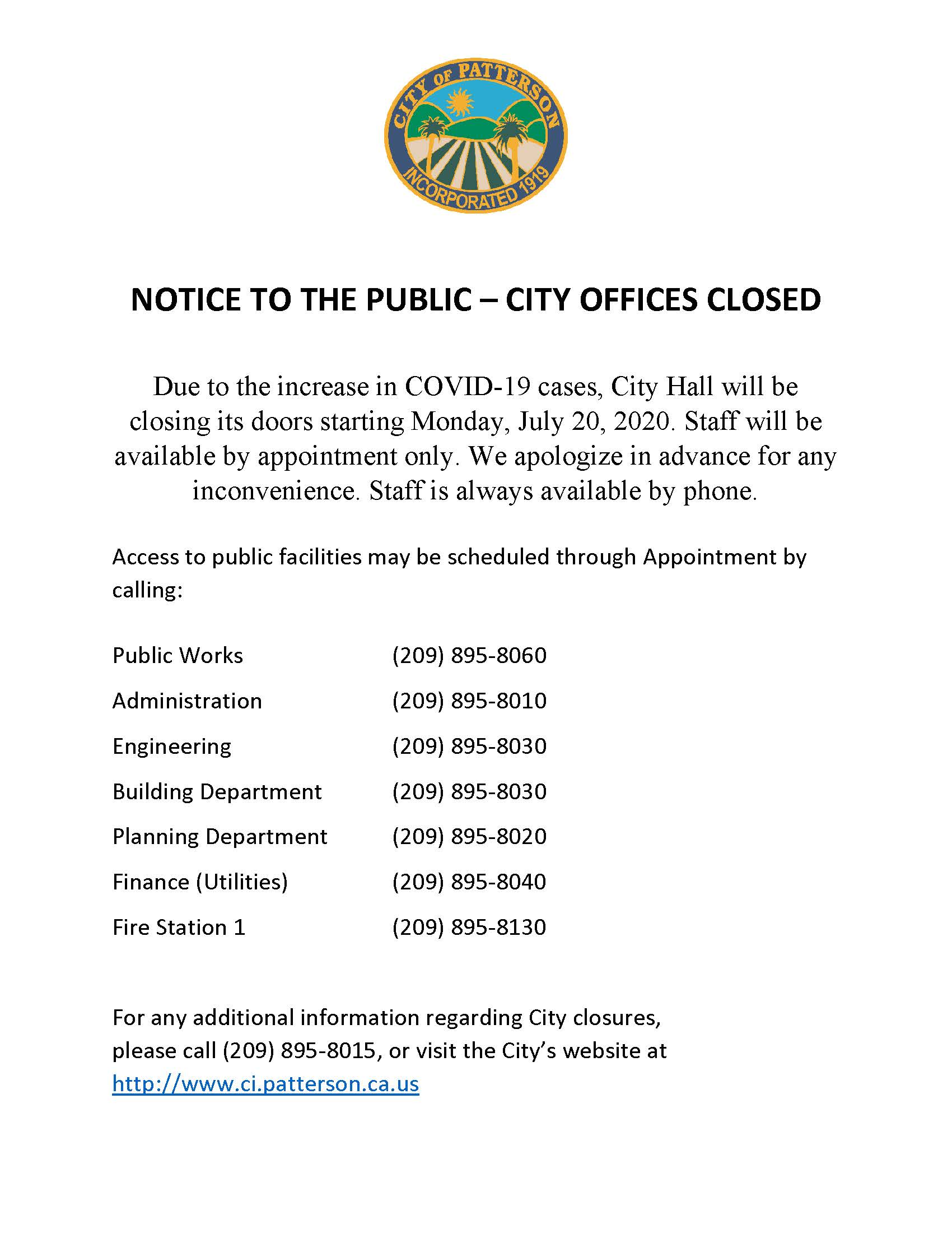 Notice of closure (Revised)